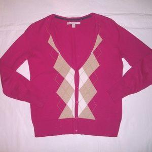 Old Navy Fushia Pink Argyle V-Neck Cotton Cardigan